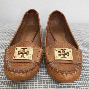 Brown leather and gold Tory Burch loafers